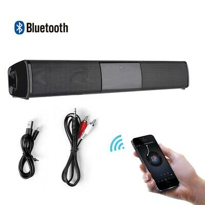 Wireless Bluetooth TV Soundbar Dual Speakers Sound Bar Home Theater Subwoofer UK