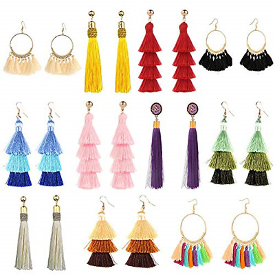 11 Pairs Tassel Earrings Colorful Long Layered Thread Ball Dangle Women Gifts