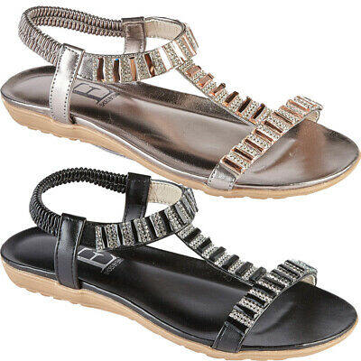 Ladies Flat Wedge Diamante Strappy Sandal Womens Party Beach Evening Casual Shoe