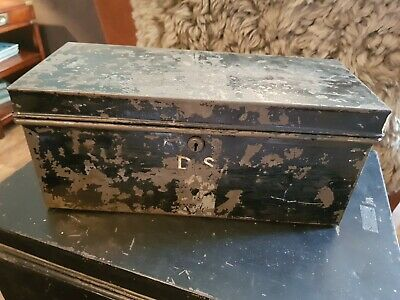"Small Vintage Metal Deed Box Storage Tin Chest Signwritten ""D.S"""