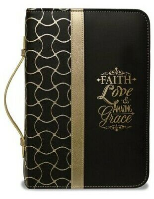Faith Bible Cover, Black and Gold, Large