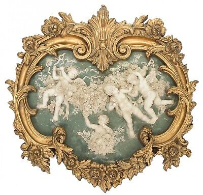 Picture in relief - cherubs - angels - antique style - faux alabaster