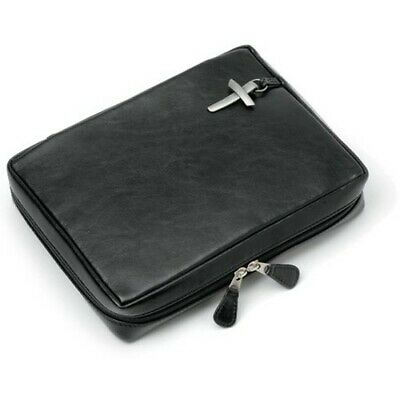 Genuine Leather Bible Cover, Black, Large