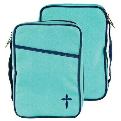 Canvas Bible Cover, Turquoise and Navy with Cross, Thinline