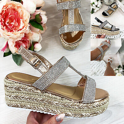 New Womens Platform Sandals Espadrille Diamante Ankle Strap Wedge Summer Shoes