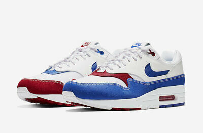 2019 Nike Air Max 1 Premium SZ 10.5 Puerto Rico Gym Red Racer Blue OG CJ1621-100