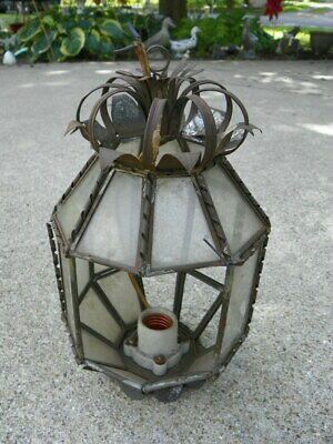 Vtg Antique Tin Hanging Light Fixture Leaded Glass Panels Pennsylavania Dutch
