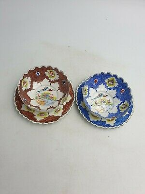 Chinese Small Thin Enamel Metal Finger Bowls Saucers Handpainted Blue Brown Pair