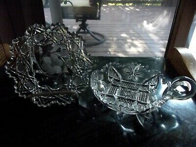 PLATE & BON BON NAPPY CANDY DISH handle American Brilliant ABP cut Glass crystal