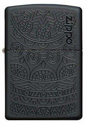 Zippo Two Tone, Filigree Pattern Deep Carve, Black Matte Genuine Lighter #29989