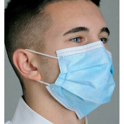 Mydent MK7100 Defend Dual Fite Pleated Earloop Face Masks Level 1 Blue 50/Bx