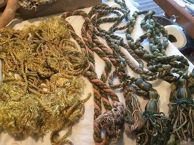 Antique Lot of Curtain/Drapery Braided Tasseled Tie Backs