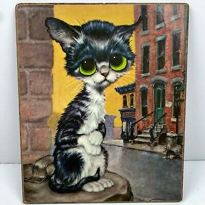 Vintage Big Eye Cat Picture Sad Cute 9 x 8 Black White City Background