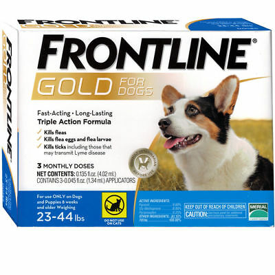 FRONTLINE GOLD FOR DOGS 23 TO 44 LBS 3 DOSES EPA Approved FREE SHIPPING !