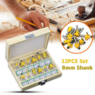 12PCS Milling Cutter Router Bit Set Box 8mm Wood Carbide Shank Mill Woodworking
