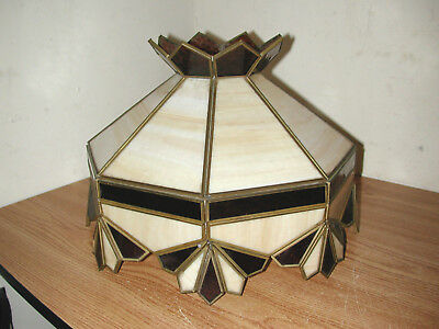 Vintage Tiffany Style Stained Glass Hanging Ceiling Light Shade Made In Mexico