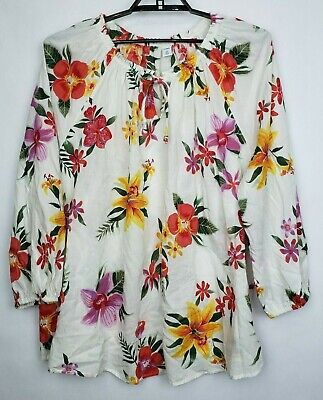 Old Navy Womens Blouse White MultiColor Tropical Floral Boho Top Plus Sz 4X NWT