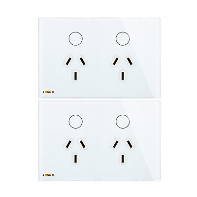 2 Pcs Livolo AU Touch Light Switch Glass Panel Power Point Wall Socket Switch