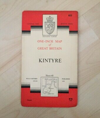 1955 Old Vintage OS Ordnance Survey One-inch Seventh Series Map No. 65 KINTYRE