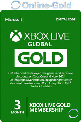 3 Monate Xbox Live Gold Mitgliedschaft - Xbox 360 & One Download Code [GLOBAL]