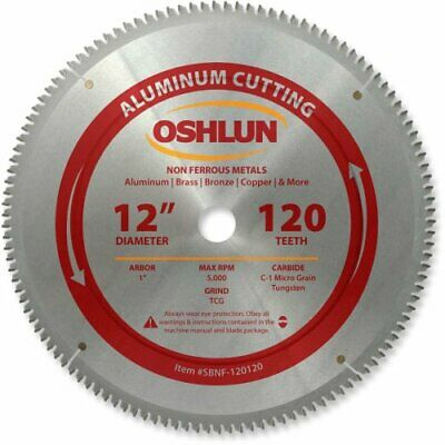 Oshlun SBNF-120120 12-Inch 120 Tooth TCG Saw Blade with 1-Inch Arbor for Aluminu