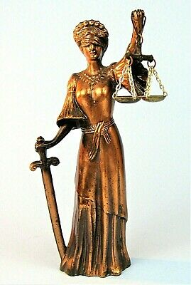 Themis Blind Lady Justice Bronzed Metall Statue / Waage & Schwert Divine Law