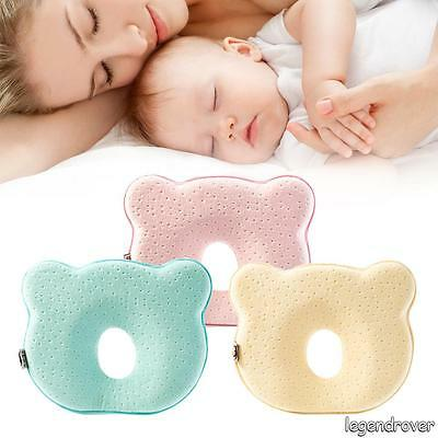 2X Baby Infant Newborn Memory Foam Pillow Prevent Flat Head Anti Roll Support A