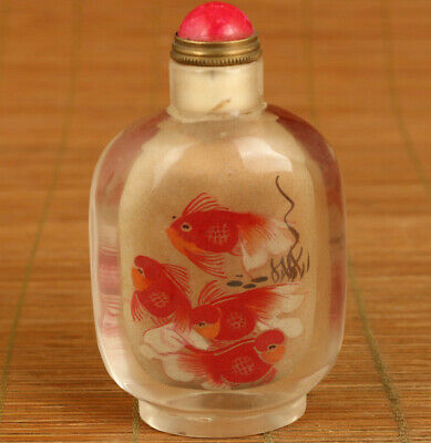 old glass Hand inside painted gold fish statue noble snuff bottle home decoratio