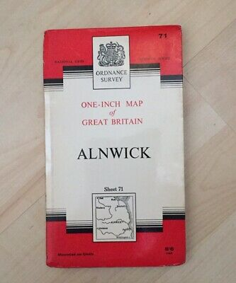 1965 Vintage ORDNANCE SURVEY One-Inch Seventh Series Map ALNWICK, No 71Cloth