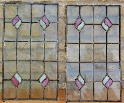 Pair Victorian Stained Glass Window Panels