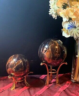 Glass Art Set of 2 Decorative Balls Metallic Gold Gray Black -Gold Metal Stands
