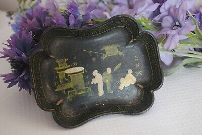 Antique Hand-painted Black lacquered cardboard Paper Mache Trinket Dish Oriental