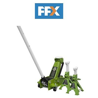 Sealey VS2002HV Ratchet Type Axle Pair 2tonne Capacity per Stand-Hi-Vis Green