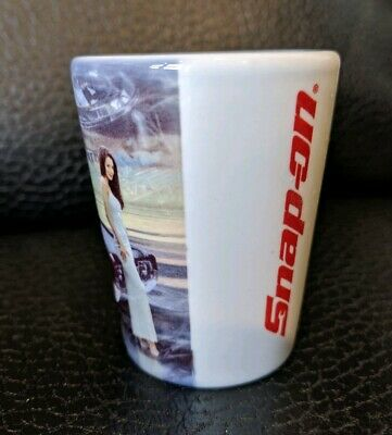 New Snap On Tools Shot Glass Classic Car Ceramic White Red
