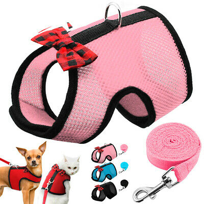 Pet Puppy Harness Breathable Mesh Leash Adjustable Kitten Vest For Small Dog Cat