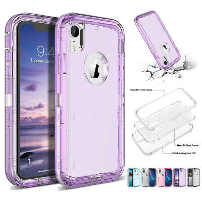 Clear Defender Case For iPhone 11 X XR XS Max 5 6 7 8Plus Transparent Heavy Duty