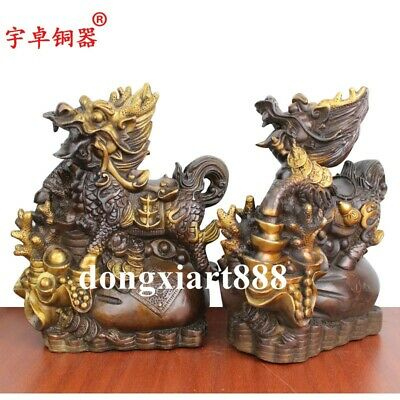 20cm Chinese Pure Bronze Foo Dog Lion Pi Xiu Counteract Evil Force Animal Statue