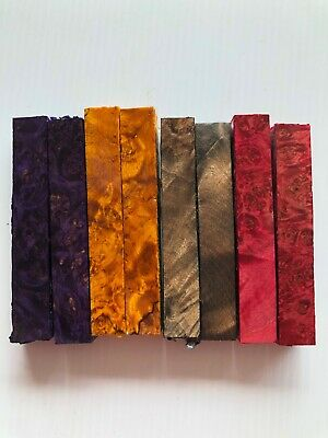 PREMIUM Stabilized  MAPLE BURL Pen Blanks, 4-color set, 2 of each-PARTY COLORS!