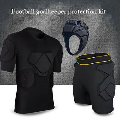 9a095f87f Football Goalkeeper Clothing Youth Adult Soccer Padded Top + Pants Helmet  Sight