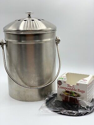Compost Bin, Stainless Steel Indoor Compost Bucket for Kitchen Countertop