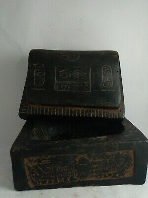 RARE ANTIQUE ANCIENT EGYPTIAN Jewelry Box God Isis Cobra Scarab Horus 1820 Bc