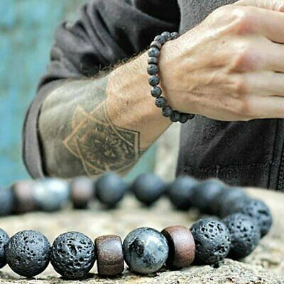 Men's Retro Bracelet Natural Stone 8mm Lava Rock Elastic Yoga Beads Jewelry Gift