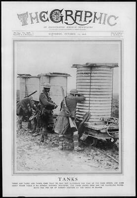 1916 Antique Print - WORLD WAR Tanks Travelling Water Butts Front France (195)