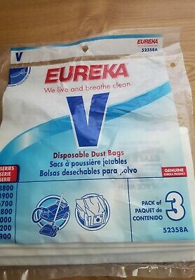3-Pack Eureka Disposable Dust Bags Style V 52358A Vacuum  Bag Carpet Cleaner NEW