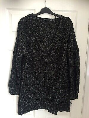 F&F Black With White Flecks Woolly Jumper Size 8