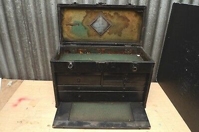 Vintage Antique 7 DRAWER MACHINIST CHEST TOOL BOX Leather metal & wood w mirror