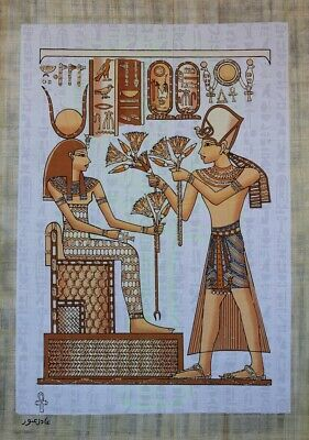 Ancient EGYPT Pharaoh Egyptian Papyrus: Ramses II & Goddess Isis - Valuable