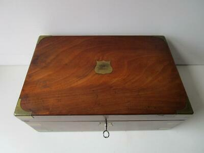 Antique Wooden Writing Slope Box with Key Glass Inkwell and 2 Secret Drawers