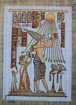 Ancient Egypt Akhenaton Offer To Aton Sun Original - Hand Painted Papyrus