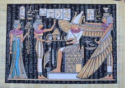 ANCIENT EGYPT HAND PAINTED PAPYRUS Isis and winged Maat with Horus and Nefertari